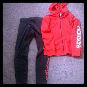 Adidas pants and hoodie